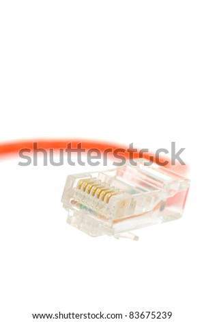 Ethernet Cable Connector on White Background - stock photo