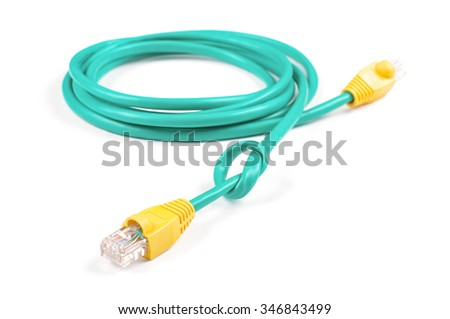 Ethernet cable tied to knot isolated on the white background - stock photo