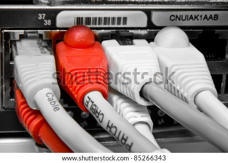 ethernet cables connected to switch - stock photo