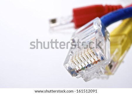 ethernet cables group computer and white background - stock photo