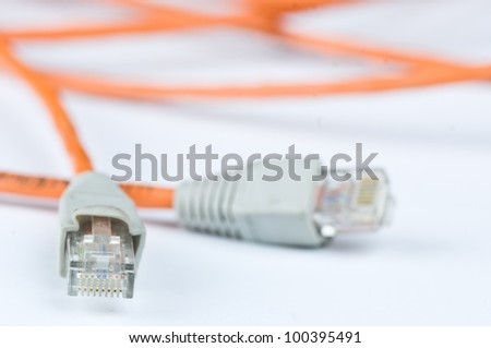 ethernet cables isolated on white background - stock photo