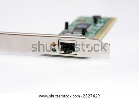 Ethernet card isolated on white - stock photo