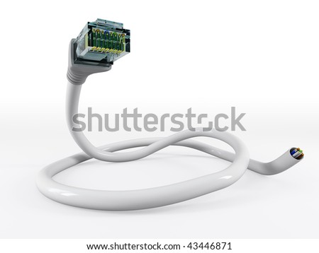 ethernet network cable  isolated on white background. - stock photo
