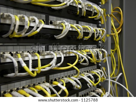 Ethernet patch panel - stock photo