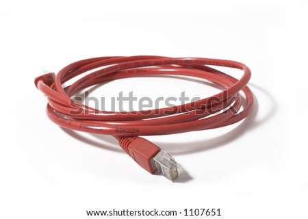 Ethernet RJ45 Patch Cable Isolated on White Background