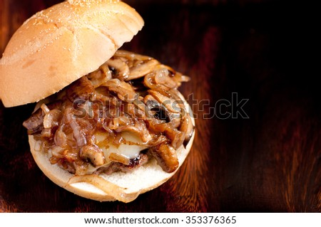 ethical meat beef burger with havarti cheese, sauteed onions and mushrooms