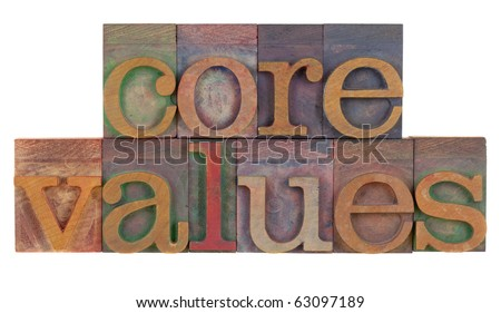 ethics concept - core values words in vintage wooden letterpress printing blocks isolated on white - stock photo