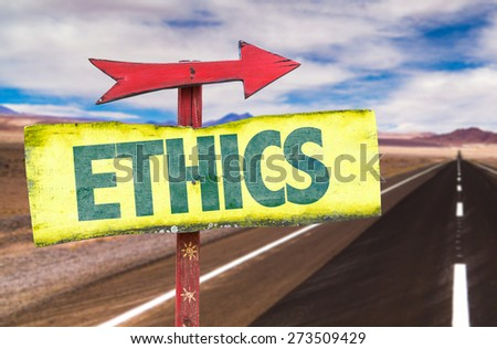 Ethics sign with road background - stock photo