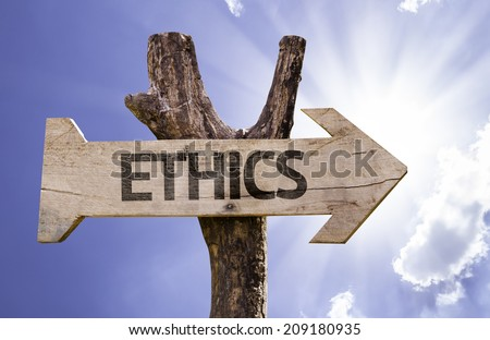 Ethics wooden sign on a beautiful day - stock photo