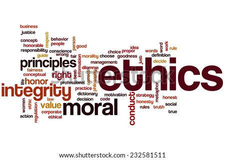Ethics word cloud concept - stock photo