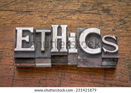 ethics  word in mixed vintage metal type printing blocks over grunge wood - stock photo
