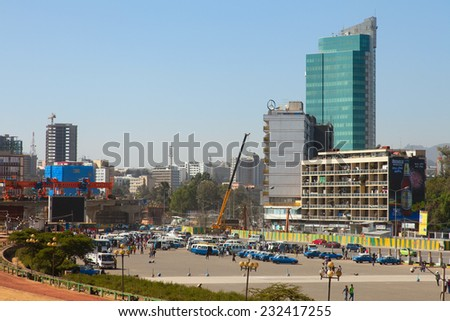 ETHIOPIA ADDIS ABABA DECEMBER 21,2013. Streets of the capital  in Ethiopia Addis Ababa  December 21,2013.  - stock photo