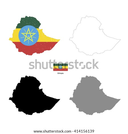 Ethiopia country black silhouette and with flag on background, isolated on white - stock photo