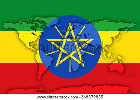 Ethiopia flag and world map background