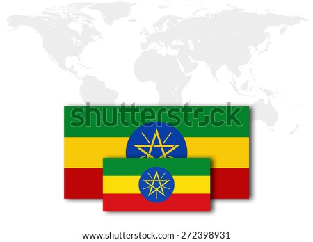 Ethiopia flag and world map background - stock photo