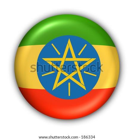 Ethiopia Flag Button - stock photo