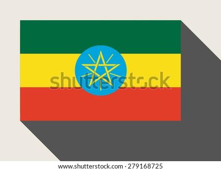 Ethiopia flag in flat web design style. - stock photo