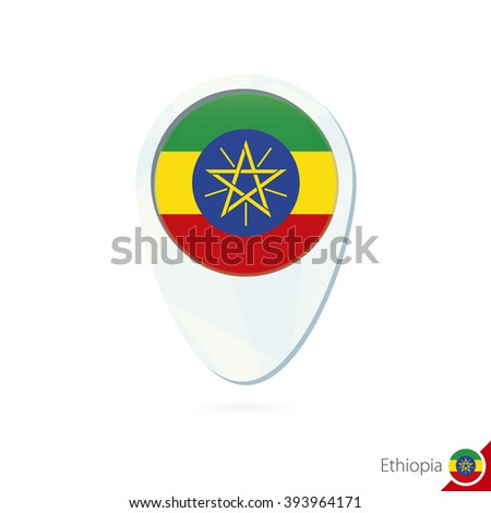 Ethiopia flag location map pin icon on white background. Raster copy. - stock photo