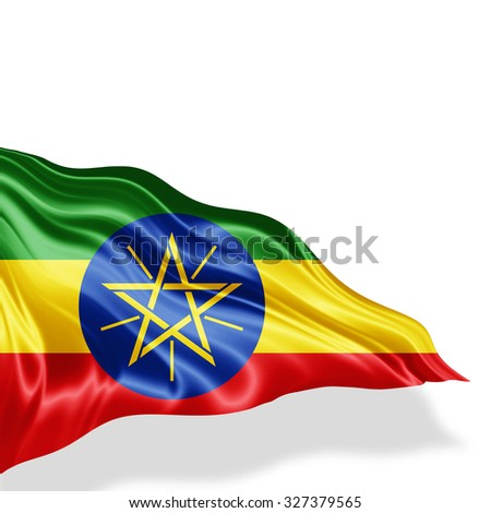 Ethiopia flag of silk with copyspace for your text or images and white background