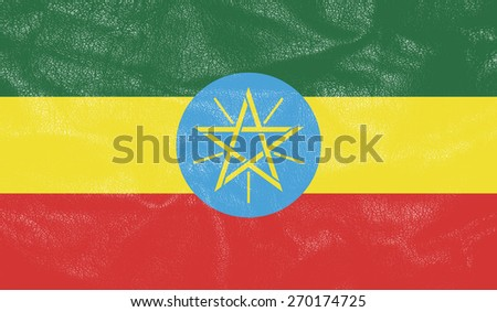 Ethiopia flag on leather texture - world flag leather textured