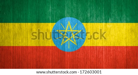 Ethiopia Flag on wood background