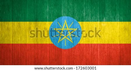 Ethiopia Flag on wood background - stock photo