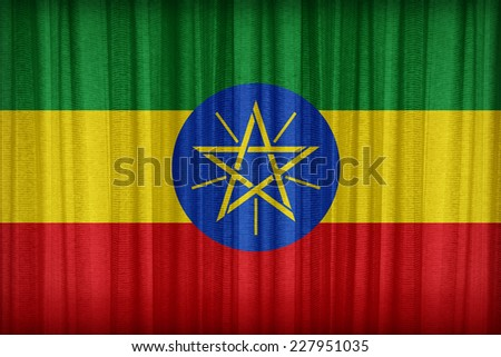 Ethiopia flag pattern on the fabric curtain,vintage style - stock photo