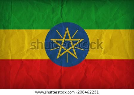 Ethiopia flag pattern on the paper texture ,retro vintage style - stock photo