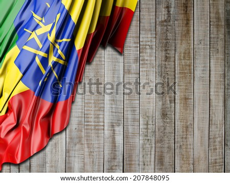 Ethiopia Flag with vertical wood - stock photo