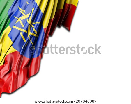 Ethiopia Flag with white - stock photo