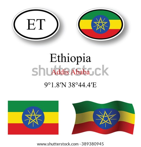 ethiopia icons set against white background, abstract art illustration, image contains transparency - stock photo