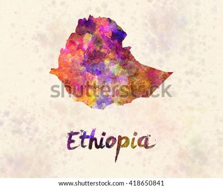 Ethiopia in watercolor - stock photo