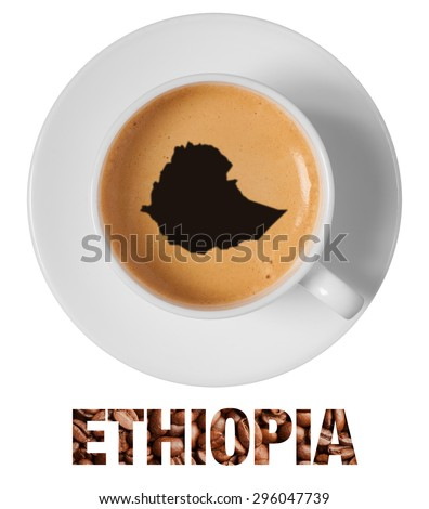 Ethiopia map drawing art on coffee foam in cup isolated on white background - stock photo