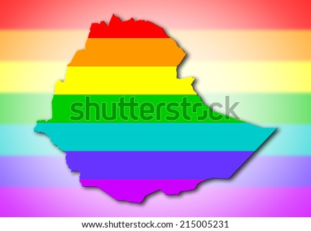 Ethiopia - Map, filled with a rainbow flag pattern - stock photo