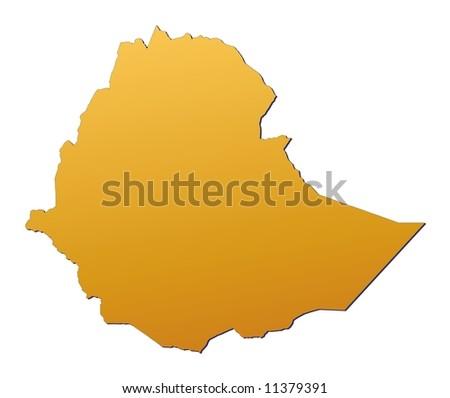 Ethiopia map filled with orange gradient. Mercator projection.Original rendered image using public domain data(coordinates). - stock photo
