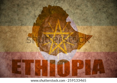 ethiopia map on a vintage ethiopian flag background - stock photo