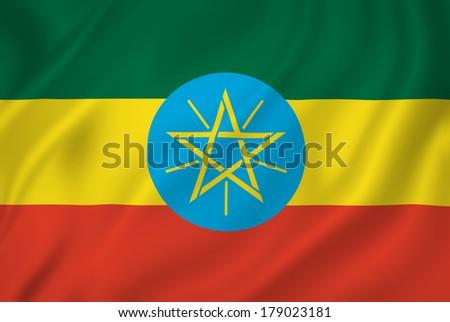 Ethiopia national flag background texture. - stock photo