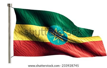 Ethiopia National Flag Isolated 3D White Background - stock photo