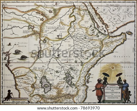 Ethiopia old map. Created by Joan Blaeu, published in Amsterdam 1650