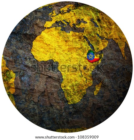 ethiopia territory with flag on map of globe - stock photo