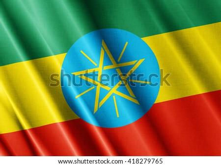 Ethiopia waving flag close - stock photo