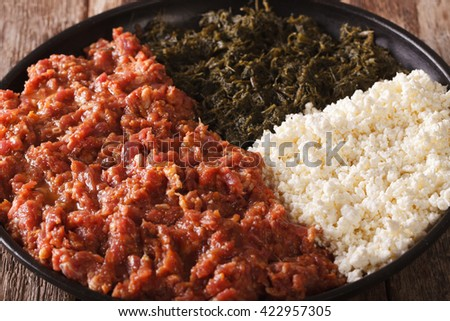 Ethiopian cuisine: kitfo with greens and cheese ayibe on a plate macro. horizontal