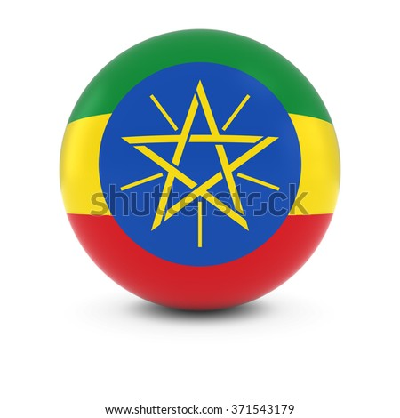 Ethiopian Flag Ball - Flag of Ethiopia on Isolated Sphere