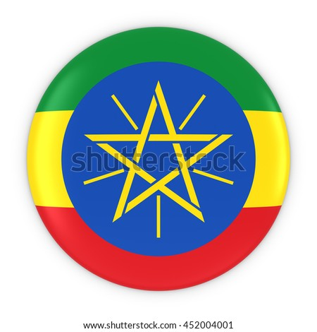 Ethiopian Flag Button - Flag of Ethiopia Badge 3D Illustration