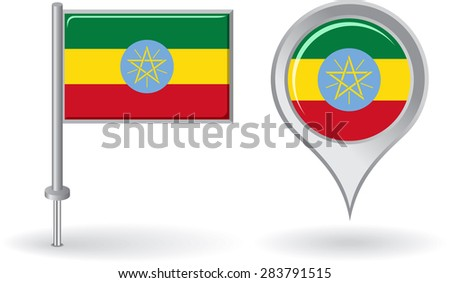 Ethiopian pin icon and map pointer flag. Raster version - stock photo