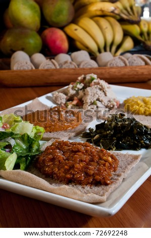 Ethiopian vegetarian sampler plate - stock photo