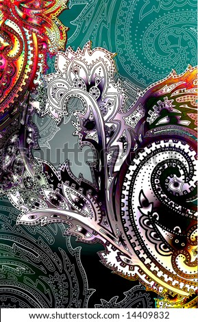 Ethnic bohemian paisley print with colorful shades - stock photo