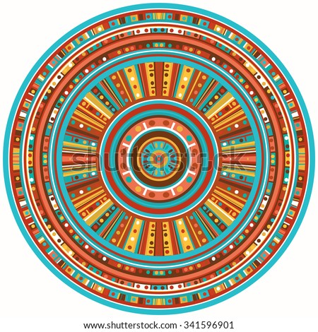 Ethnic circle reminiscent of the Mayan ornaments - stock photo