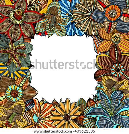 Ethnic colored floral zentangle, doodle frame in art. Henna paisley mehndi doodles design tribal design element.  - stock photo