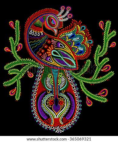ethnic folk art of peacock bird with flowering branch design, raster version dot painting illustration - stock photo